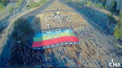 Movilización en Santiago de Chile contra la represión a las comunidades mapuches