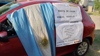 Caravanazo en Rivadavia contra la nueva ley de educación en Mendoza
