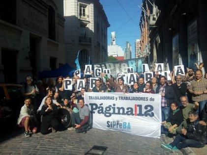 #Mateada de trabajadores y trabajadoras de Página/12 en defensa de su salario