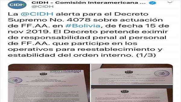 Decreto Supremo de Añez exime a las Fuerzas Armadas de responsabilidad penal por actos de represión