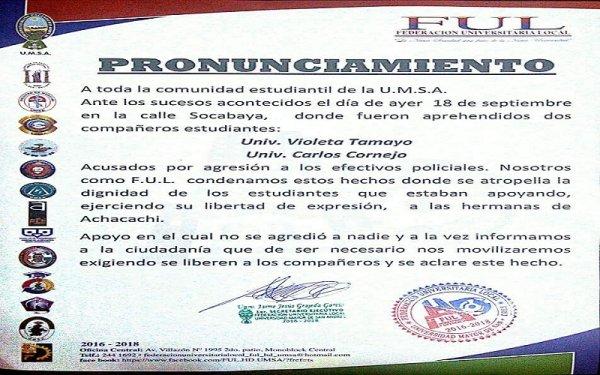 Federación Universitaria Local se pronuncia por Tamayo y Cornejo