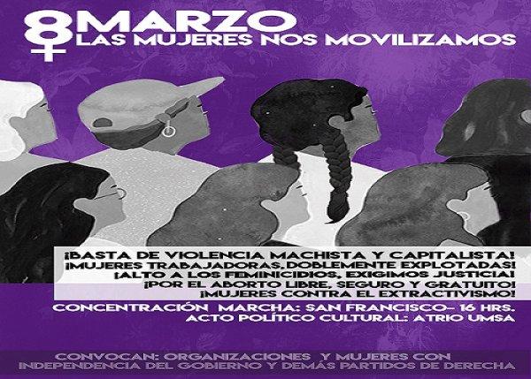 Bolivia: Este #8M marcharán obreras, indígenas, estudiantes, amas de casa y mujeres combativas ¡Súmate a la movilización!